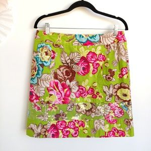Etcetera Sequin Green Pink Floral A-Line Skirt